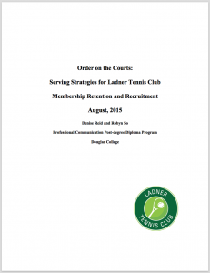 Ladner Tennis Club Membership Study, co-author